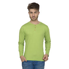 Clifton Men's Henley Cotton Full Sleeve T-Shirt - Parrot Green