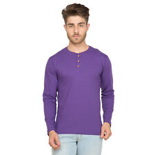 Clifton Men's Henley Cotton Full Sleeve T-Shirt - Purple