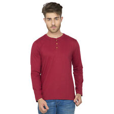 Clifton Men's Henley Cotton Full Sleeve T-Shirt - Maroon