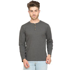 Clifton Men's Henley Cotton Full Sleeve T-Shirt - Charcoal Melange