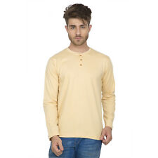 Clifton Men's Henley Cotton Full Sleeve T-Shirt - Beige