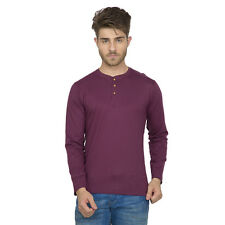 Clifton Men's Henley Cotton Full Sleeve T-Shirt - Wine