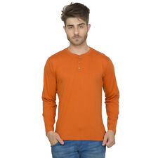 Clifton Men's Henley Cotton Full Sleeve T-Shirt - Rust