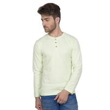 Clifton Men's Henley Cotton Full Sleeve T-Shirt - Pista