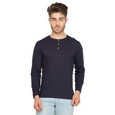 Clifton Men's Henley Cotton Full Sleeve T-Shirt - Navy