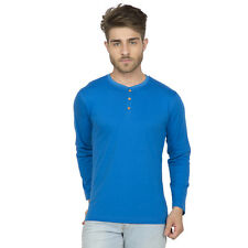 Clifton Men's Henley Cotton Full Sleeve T-Shirt - Royal Blue