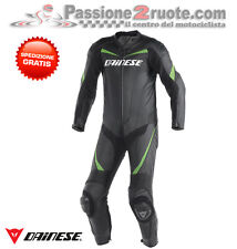 Tuta pelle intera Dainese Racing nero verde moto leather suit 1 piece