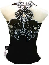 Rockabilly Punk Rock Bebe Tiki Skull Tattoo Negro Mangas Camiseta