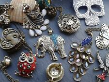 steampunk colgantes en collar HEARTSanimalsLOCKETSantiqueTREASURE
