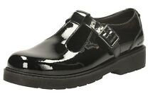 GIRLS CLARKS PURLEY GO JNR BLACK PATENT LEATHER BUCKLE FASTEN T-BAR SCHOOL SHOES
