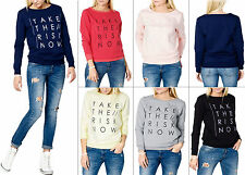 Damen Sweatshirt Sweater Pullover Statement Print S 34 36 38 Mode Pulli top neu