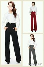Womens High Waist Plain Palazzo Wide Leg Flared Ladies Plain Trousers OL Pants