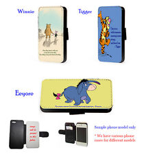 Winnie,Tigger,Eeyore Cute Quote leather phone case iPhone 4 5 6 A3 A5 S4 S5 S6