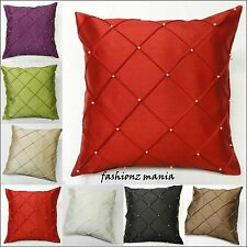 "NEW LUXURY PAIR OF PEARL FAUX SILK CUSHION COVERS SOFT FABRIC 43X43CM (17""x17"")"