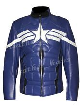 Genuine Leather Chris Evans Captain America Winter Soldier Motorbike Jacket #524