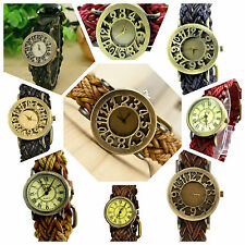 VINTAGE RETRO BEADED BRACELET STYLE WOMEN WRIST WATCH ANTIQUE LEATHER Strap !!!!