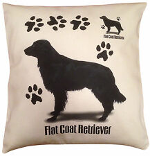 Flatcoated Retriever Paws Cotton Cushion Cover - Cream or White Cover