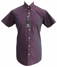 Relco Mens Burgundy TONIC Short Sleeve Shirt Two Tone NEW Mod Skin Vintage Retro