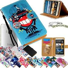 Flip Stand Card Wallet Leather Cover Case For Various HTC Mobile Phones + Strap