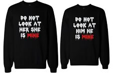 Do Not Look At Her or Him Scary Couple Sweatshirts Halloween Matching Sweaters