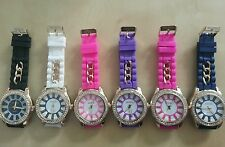 Ladies Women Casual Crystal Silicone Silicon Jelly Rubber Wrist Watch