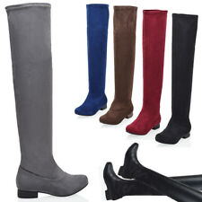 Womens Ladies Low Heel Thigh High Over The Knee Stretch Riding Boots Size 3-8