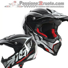 Casco moto Cross Agv AX-8 Carbotech White Red off road enduro motard