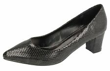 """LADIES SPOT ON BLACK SNAKE PRINT POINTED TOE COURT SHOES """"F9807"""""""