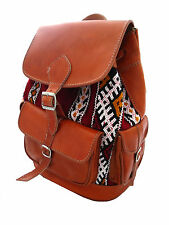 Handmade Genuine Leather & Wool Kilim Carpet Rucksack Backpack Tan or Brown