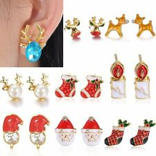 Xmas Stud Earrings Gold Crystal Christmas Tree Santa Claus Deer Women Jewellery