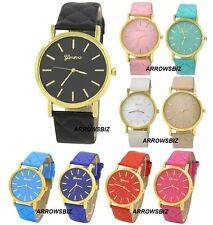 New Unisex Geneva Analog Quilted Strap PU Wrist Watch Quartz Various Colours