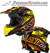 Casco cross Axo Tribe Nero rosso giallo off-road enduro motard fibra