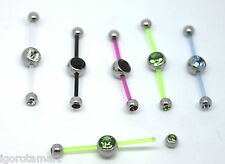 Single New PTFE Double Piercing Belly Navel Bar Jewelled Gem Ball Ends - Uk Post