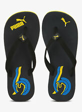 Puma Brand Mens Original Wave Black Yellow Slippers / Flip Flop
