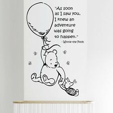 Wall Quote WINNIE THE POOH Wall Sticker Art Girls Boys Baby Room Nursery Decal 2