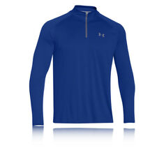 Under Armour Tech Mens Blue Wicking Quarter Zip Long Sleeve Running Top