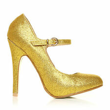 MISCHA Gold Glitter Stiletto Very High Heel Mary Janes Shoes