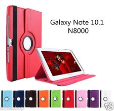 """Leather 360 Degree Rotating Case Cover for Samsung Galaxy Note 10.1"""" N8000 N8010"""