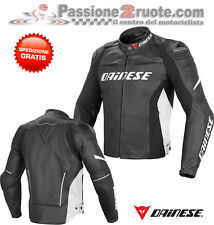 Giacca pelle Dainese Racing D1 Nero Bianco Black White Moto leather Jacket