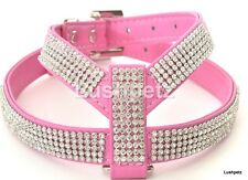 Bright Pink Rhinestone Bling Diamante Dog Harness toy chihuahua puppy cat yorky
