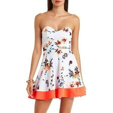 NWT Charlotte Russe HeartShaped Strapless Floral Print A-Line Coral Bottom Dress