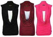 New Womens Plus Size Contrast Colors Cowl Neck Tops 16-26