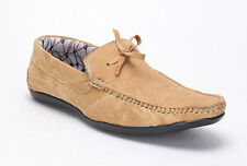 Quarks Men's Denim Look Casual Knot Loafer Shoes - Beige Color - Q1026BE