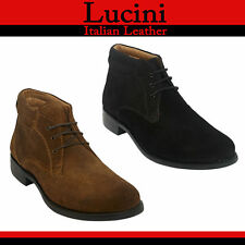 Mens Boys Goodyear Welted Suede Leather 3 eyelet Lace up Chukka Boot
