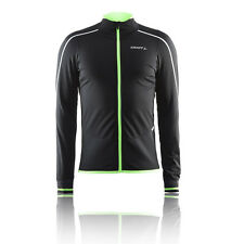 Craft Storm Uomo Nero Manica Lunga Antivento Ciclismo Zip Sport Jersey Top