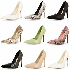 New Ladies Womens Patent High Heels Pointed Toe Corset Pumps Court Shoes Size