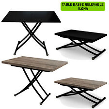 TABLE BASSE RELEVABLE TRANSFORMABLE ILONA BLACK EDITION NEUF