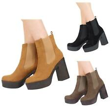 NEW WOMENS HIGH HEEL PLATFORM PULL UP CHELSEA LADIES ANKLE BOOTS SHOES SIZE 3-8