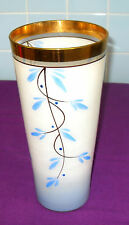VINTAGE RETRO KITSCH 1950s LARGE ROMANIAN HAND PAINTED STUDIO ART GLASS VASE