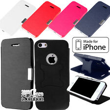 SLIM LEATHER Magnetic FLIP STAND CASE COVER FOR Apple iphone 4 4S / 5 5S / 5C